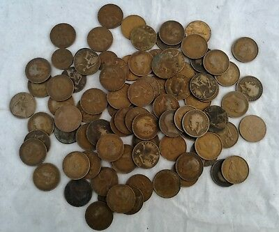 Job Lot: PART SET OF GEORGE VI COINS 1937-1952 & 87 OLD PENNIES + MIXED COINS