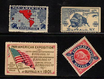 Lot of 4 1901 Pan American Exposition Poster Stamps Buffalo N Y