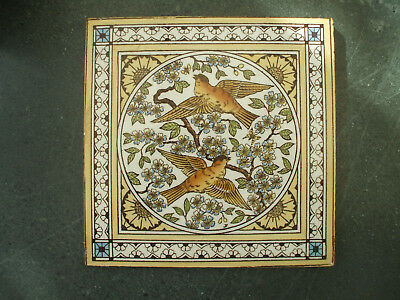 Antique Minton Hollins Hand-Painted Tile - Birds Flying Amidst Blossom - Vgc
