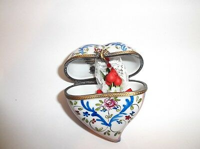 Peint Main Limoges Trinket-Heart And Flowers