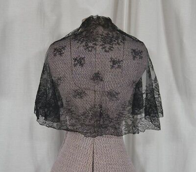 fichu collar bertha net lace early hand made tambour black 19th c original vg