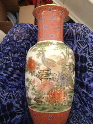 Antique Chinese Ch'ing Dynasty Large Vase Hand Painted Stunning Well Marked
