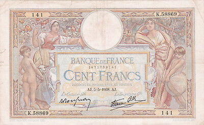 100 Francs Fine- Banknote From France 1938!pick-86
