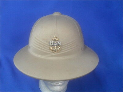 1974dfaed4 Vietnam War US Navy Tropical Pith Helmet Sun Hat with Sterling Insignia 1962
