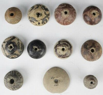 Lot 11 Pre Columbian Pottery Paint Decorated Incised Spinning Weight Beads JSU