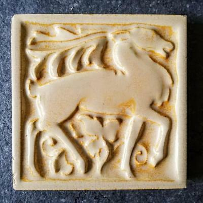 Rare Art Deco Marsden Tile Co Relief Moulded Stag / Antelope Pottery Tile c1920