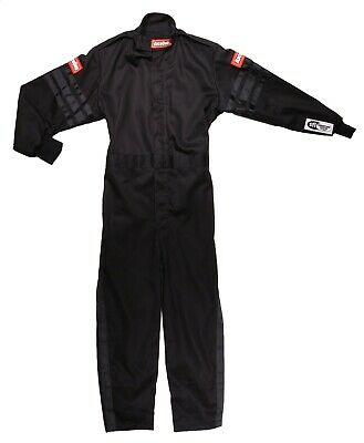 X Small Black Trim 1 piece Single Layer Kids Youth Race Driving Safety Fire Suit