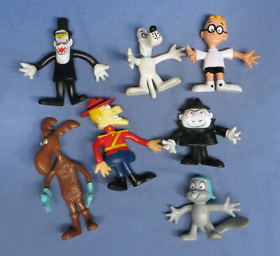 Rocky & Bullwinkle Rubber 7 Figure Lot Wham-o  By JAY WARD 1972 Toy Bendies
