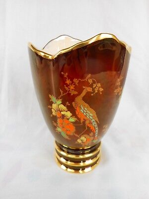 Lovely  Carlton Ware Rouge Royale Vase Decorated With A Pheasant & Flowers !
