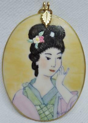 Beautiful Vintage Hand Painted Porcelain Geisha Maiden Pendant Artist Signed