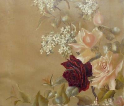 EXQUISITE ANTIQUE FRENCH 19th CENTURY HAND PAINTED ROSES ON LINEN CANVAS 271