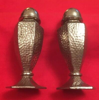 Pair Of Antique Arts & Crafts Silver Plate On Pewter Salt & Pepper Pots c.1890's