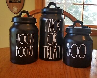 RAE DUNN HALLOWEEN canisters trick or treat boo hocus pocus inspired painted