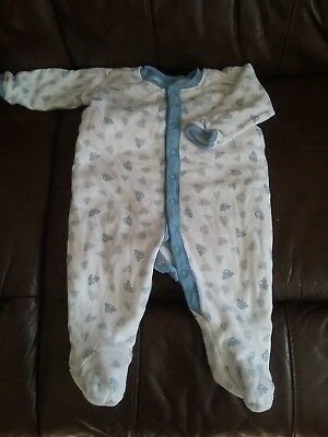 Padded Sleepsuit All In One White Blue Cars 3-6 Months