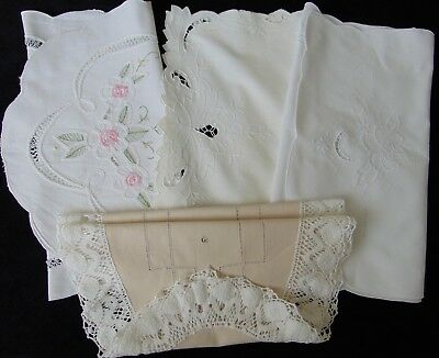 4 X Vintage Hand & Machine Embroidered Cotton Lace Good Sized Runners - Vgc