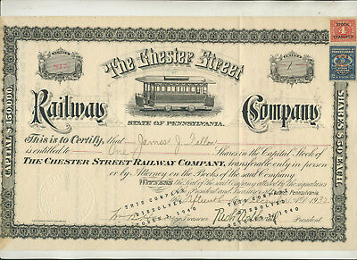 1932 Chester Street Railway Company Stock Certificate