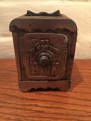 "Antique Coin Deposit Bank Combination Safe Cast Iron 4"" Tall"