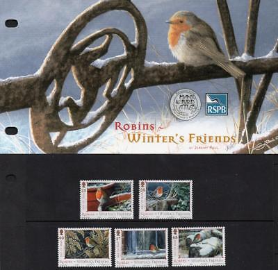 ISLE of MAN MNH 2004 SG1185-89 Robins, Winter Friends, Presentation Pack