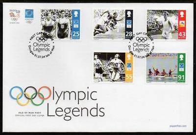 ISLE of MAN 2004 SG1152-56 Olympic Legends FDC