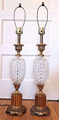 Pair of HOLLYWOOD REGENCY Vintage Cut Glass & Brass TABLE LAMPS, Pineapple Style