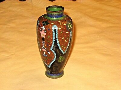 Antique Early Meiji Period Japanese Brass Wire Miniature Cloisonné Vase