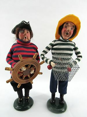 Lot of Two Byers' Choice Sailors - The Carolers - Helmsman & Crab Basket