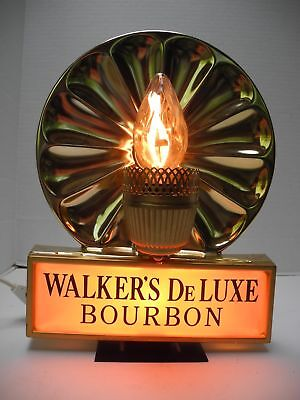Vintage Walker's DeLuxe Bourbon Sign with Lighted Base and Candle Bulb Working