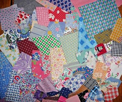 Mixed Lot of Vintage Scraps from the 1900-60's  About 1.25 yards