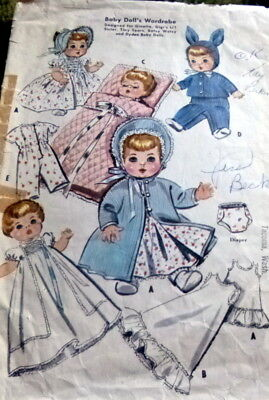 "GREAT VTG 1950s 13""-14"" DOLL CLOTHING SEWING PATTERN"