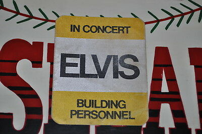 Elvis Presley Yellow Rectangle In Concert Backstage Pass Badge Building Personne