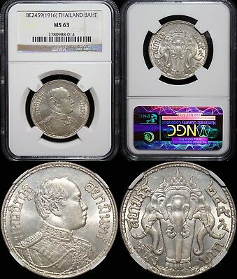 BE2459 (1916) Thailand Baht ~ NGC MS63 ~ 90% silver ~ Y#45