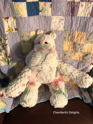 Handmade White Pink Dot & Pink Florals Chenille Bedspread Large Hippo