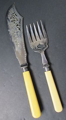 English Fish Servers Pierced Engraved Blade Large & Elegant Pieces Silverplate
