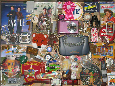 junk drawer lot pocket knife jewelry watches rings coins toys police patch DVD