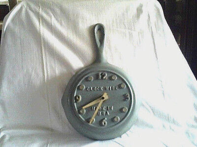 Vintage Gray Cast Iron Frying Pan Kitchen Wall Clock  By Clock Wise