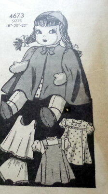 "GREAT VTG 1940s 22"" DOLL & CLOTHING SEWING PATTERN"