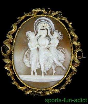 14K GOLD antique THREE GRACES true Victorian Carved Shell Cameo Brooch SIGNED