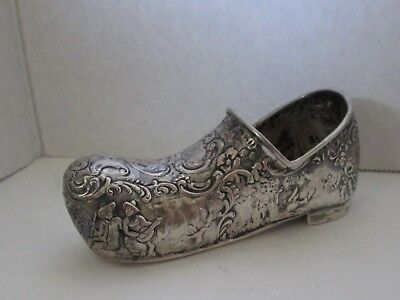 Miniature Sterling Silver Repousse Embossed Shoe Germany Marked Vintage