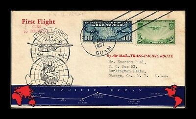 Dr Jim Stamps Us Cover First Flight Fam 14  12 Return Guam Hong Kong Air Mail