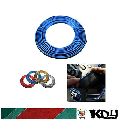 5M AUTO ACCESSORIES CAR Universal Interior Gap Decorative Blue Line CHROME Shiny