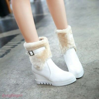 Womens Ankle Boots Shoes Zipper Faux Fur Tops Warm Winter Buckle Wedge Heel 2018