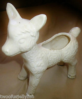 Pottery Vintage Sheep Lamb Figurine Planter White Old 6-1/4 In