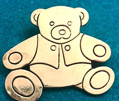 Vintage Silver Teddy Bear Brooch Pendant Necklace Pin Estate Antique Cute Animal