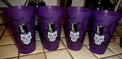 Purple Day Of Dead Sugar Skull Kitchen Tumblers Cups Glasses Set Of 4