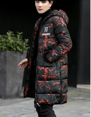 Mens Mid Long Camou Down Cotton Hooded Coats Jacket Thicken Warm Parkas Outwear