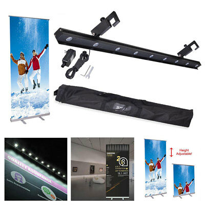 """32x79"""" Retractable Adjustable Roll Up Banner Stand LED Light Kit Trade Show"""