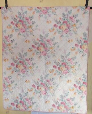 "FRENCH VINTAGE 1930s DELICIEUX FLORAL "" PIQUE "" QUILT IN WONDERFUL CONDITION"