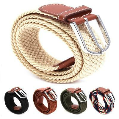 Women Men Leather Covered Buckle Woven Leisure Stretch Golf Canvas Wide Belts AM