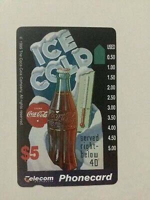 $5 Coca-Cola telecom phonecard ICE COLD phone card mint condition