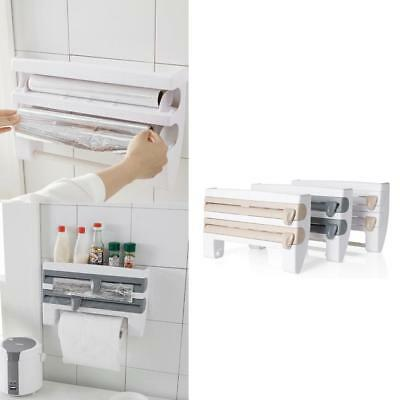 Kitchen Roll Dispenser Cling Film Tin Foil Paper Towel Holder Rack Wall Mounts.